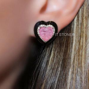 Brinco Coração Esmaltado Black Quartzo Rosa Fusion