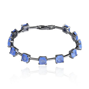 Pulseira Riviera Articulada Pedras Quartzo Azul Fusion Negra