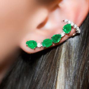 Ear Cuff Melrose Luxo Esmeralda Fusion