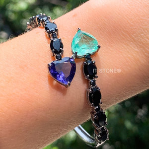 Bracelete Hearts Esmeralda Colombiana Fusion e Tanzanita Luxo