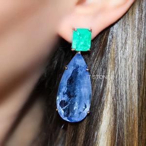 Brinco Hillary Esmeralda Colombiana e Quartzo Azul Fusion
