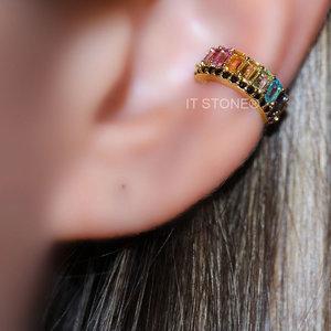 Piercing Falso Luxo Baguetes Rainbow Cravejado Gold (unidade) ... 1a88a44b05