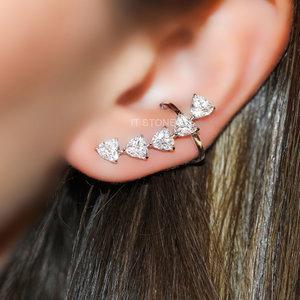 Ear Cuff Corações Luxo