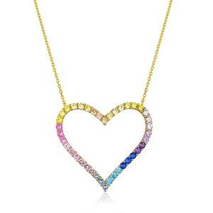 Colar Coração Vazado Rainbow Gold