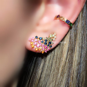 Ear Cuff Alexa Rainbow Gold