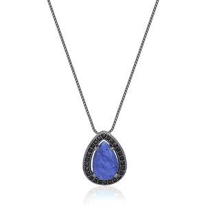 Colar Gota Modelo Joia Quartzo Azul Fusion Negro