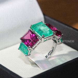 Anel Retângulos Turmalina Pink e Esmeralda Colombiana Fusion