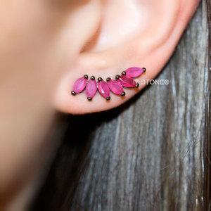 Ear Cuff Navetes Rubi Negro
