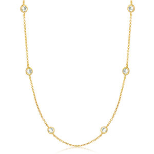 Colar Tiffy Ponto de Luz Luxo Dourado 80cm