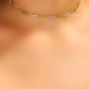 Choker Gold Lights Turmalina Pink