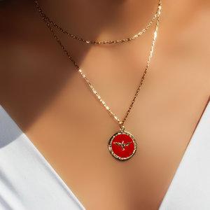 Colar Esmaltado Divino Red Corrente Cartier Dourado