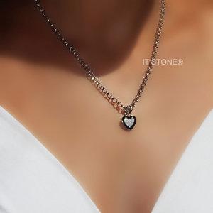 Colar Elos Coração Esmaltado Black