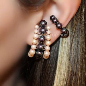 Ear Hook Triple Pearls Colors Luxo