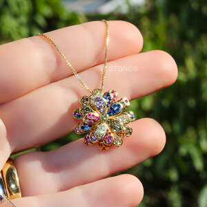 Colar Luxury Flower Rainbow Gold