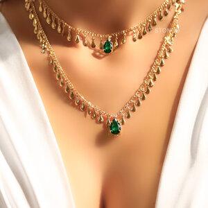 Colar Glam Gota Esmeralda