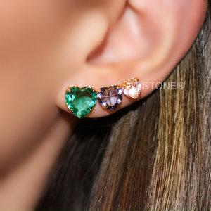 Ear Cuff Corações Decrescente Colors Gold