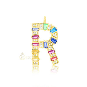 Pingente Inicial Baguetes Rainbow Luxo Large Gold