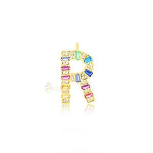 Pingente Inicial Baguetes Rainbow Luxo Medium Gold