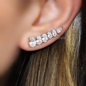 Ear Cuff Ovais Cristal