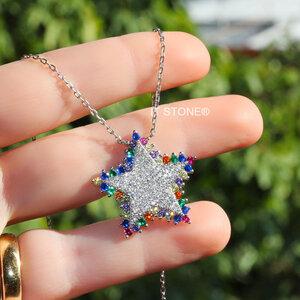 Colar Star Luxo Cravação Rainbow