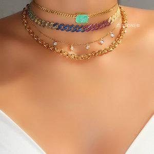 Choker Elos Cravejada Luxo Rainbow Gold