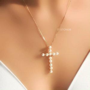 Colar Cruz Pearls Gold