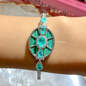 Bracelete Luxury Malaquita Esmeralda Colombiana Fusion