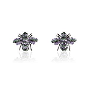 Brinco Bug Esmeralda e Ametista Negro
