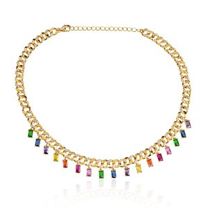 Choker Elos Luxo Baguetes Colors Gold