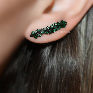 Ear Cuff Zircônias Esmeralda Negro
