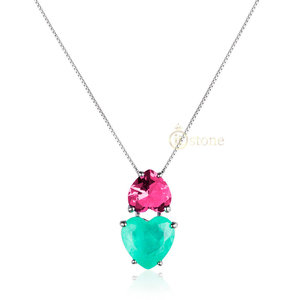 Colar Hearts Esmeralda Colombiana Fusion e Turmalina Pink
