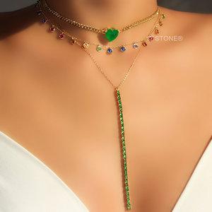 Colar Gravatinha Baguetes Esmeralda Gold