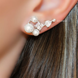 Ear Cuff Triple Pearl Zircônias