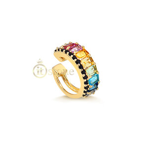 Piercing Falso Luxo Baguetes Rainbow Cravejado Gold (unidade)