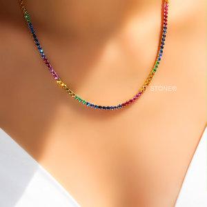 Colar Riviera Rainbow Gold 45cm