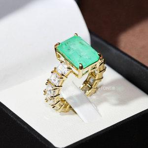 Solitário Retângulo Luxo Esmeralda Colombiana Fusion Gold