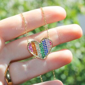 Colar Coração Rainbow Gold