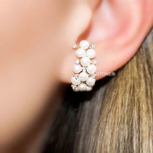 Ear Hook Pérolas e Zircônias Luxo