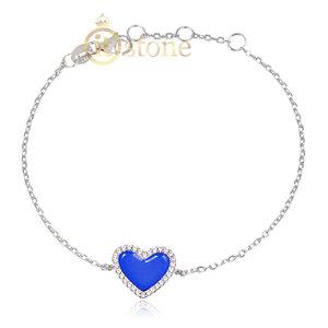 Pulseira Coração Esmaltado Blue