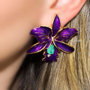 Brinco Flower Esmaltado Violet Esmeralda Colombiana Fusion Gold