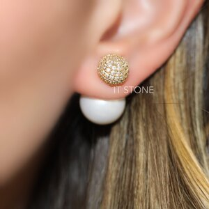 Ear Jacket Esfera e Pearl Cravejado Gold
