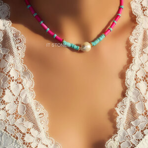 Choker Pink and Turquoise com Pérola Barroca Gold