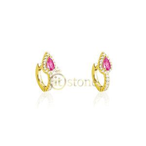 Argolinha Gotinha Turmalina Pink Gold
