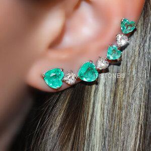 Ear Cuff Corações Luxo Esmeralda Colombiana Fusion
