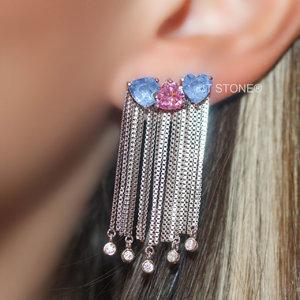 Ear Cuff Hearts Fringe Kunzita e Quartzo Azul Fusion