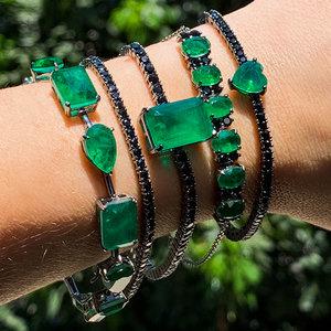 Pulseira Pedras Lapidação Mista Luxo Esmeralda Fusion Negra