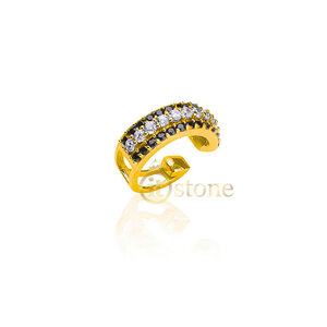 Piercing Falso Cravejado Black and White Gold (unidade)