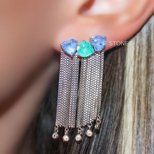 Ear Cuff Hearts Fringe Esmeralda Colombiana Fusion e Quartzo Azul Fusion