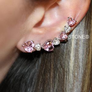 Ear Cuff Corações Luxo Kunzita