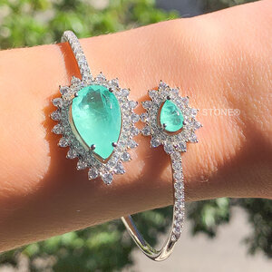 Bracelete Gotas Luxury Esmeralda Colombiana Fusion
